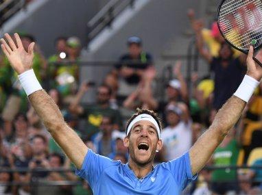 Juan Martin Del Potro celebrates after winning his match against Rafael Nadal. AFP