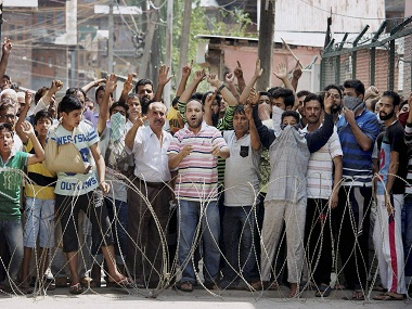 Representational image of peole shouting slogans in Srinagar. PTI