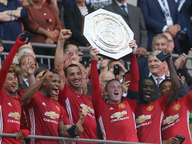 Manchester United captain lifts the Community Shield after his side beat Premier League champions Leicester City 2-1 at Wembley. AP