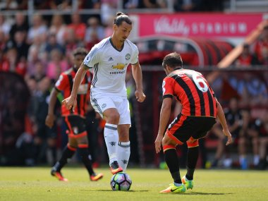 Manchester United's Zlatan Ibrahimovic controls the ball against Bournemouth. AFP