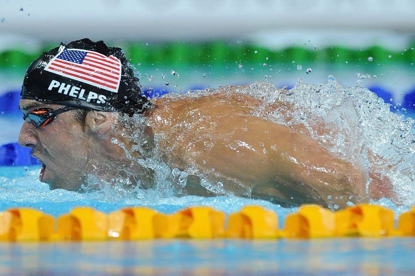Michael Phelps in the pool. Getty Images