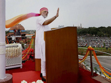 Prime Minister Narendra Modi delivering his Independence Day speech. PTI