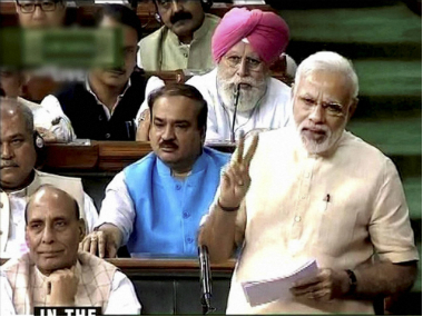 A file image of Prime Minister Narendra Modi speaking in Lok Sabha on GST Bill. PTI