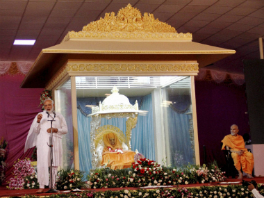 PM Modi speaks after paying tributes to the mortal remains of Swaminarayan sect's spiritual head Pramukh Swami at a temple in Sarangpur on Monday. PTI