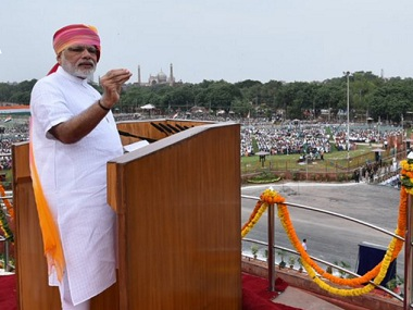 Prime Minister Narendra Modi at Red Fort on Independence Day.