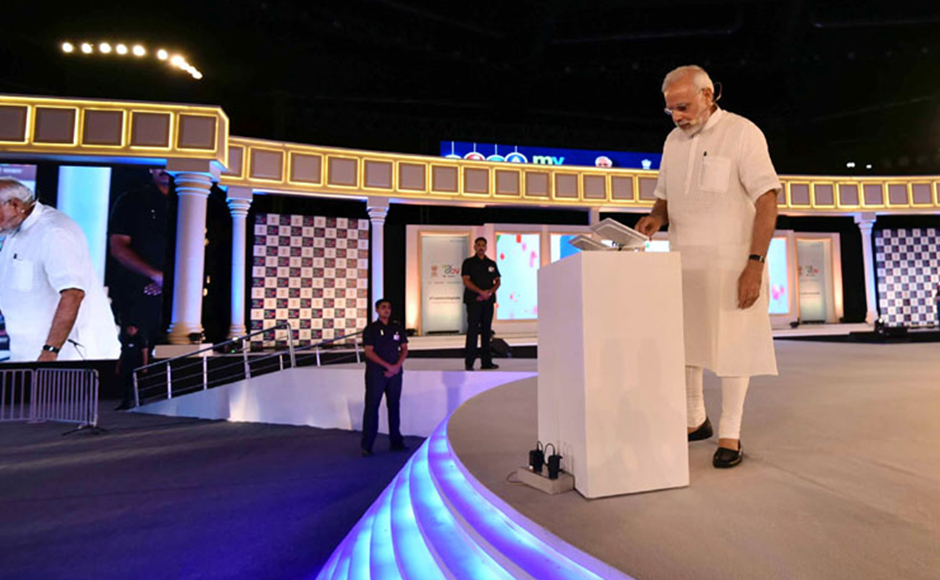 The Prime Minister, Shri Narendra Modi launching the new PMO App, at the 2nd Year Anniversary celebrations of MyGov, in New Delhi on August 06, 2016. PIB