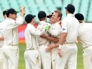 New Zealand players celebrate the dismissal of South African captain Faf du Plessis. Getty Images