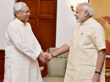 Prime Minister Narendra Modi with Chief Minister of Bihar Nitish Kumar at a meeting to discuss flood situation in the State, in New Delhi on Tuesday. PTI
