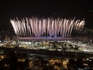 Fireworks explode above the Maracana stadium during the rehearsal of the opening ceremony of the Olympic Games. AP