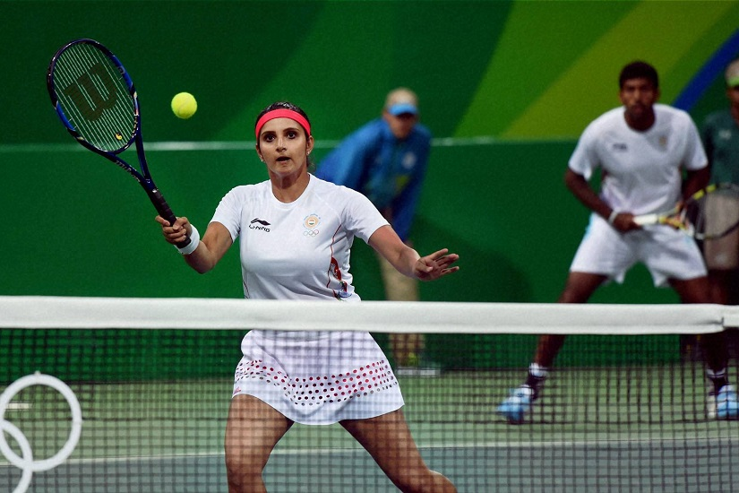 Rio de Janeiro: Sania Mirza and Rohan bhopanna play against S. Stosur and J. Peers of Australia during the mixed doubles 2016 Summer Olympics at Rio de Janeiro in Brazil on Thursday . PTI Photo by Atul Yadav(PTI8_12_2016_000025B)