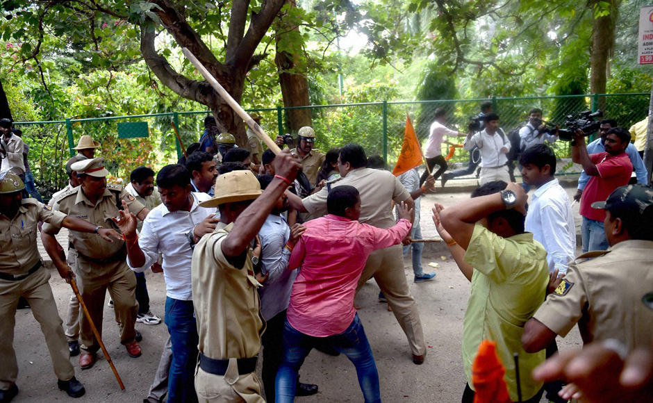 "Bengaluru Police even baton charge ABVP activists during the protest. Calling their protest ""peaceful"", ABVP National General Secretary Vinay Bidre said, ""We demanded that  police vacate Amnesty staff who were recording our protest from their office. (Photo: PTI)"
