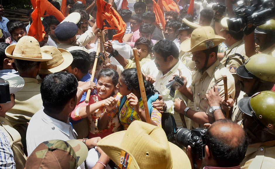 Several ABVP activists were injured, with a girl student fainting in the commotion before she was rushed to a hospital, police said, adding they detained many activists during the crackdown on the protest. (Photo: PTI)