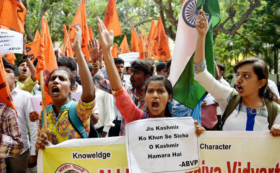 As a precautionary step, police have asked Amnesty International India to keep its office in Bengaluru closed until the ABVP protest subsides, following which the organisation had asked its employees to work from other locations. (Photo: PTI)