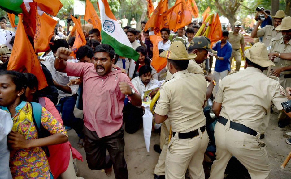 Police on Friday  resorted to 'mild' lathicharge to disperse ABVP activists staging a protest in front of the Amnesty International India office here demanding arrest of those who allegedly raised anti-India slogans at an Amnesty event. (Photo: PTI)