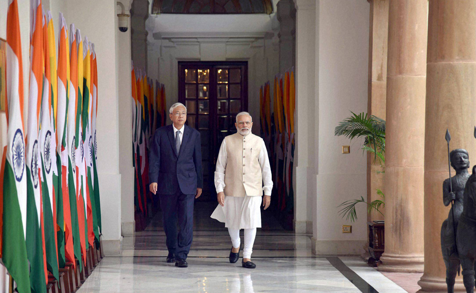 Prime Minister Narendra Modi and Myanmar's President U Htin Kyaw arrive for a meeting at Hyderabad house in New Delhi. India and Myanmar signed four key aggrements following the bilateral talks, including ones on constructing 69 bridges on the trilateral highway connecting India, Myanmar and Thailand and cooperation in the field of renewable energy. PTI