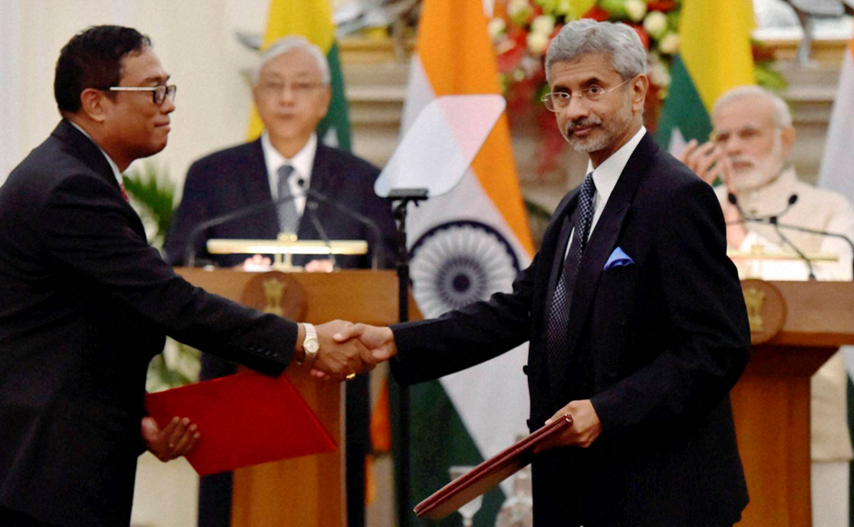 "India's Foreign Secretary S Jaishankar exchanges documents after signing an agreement with Myanmar government official at Hyderabad house in presence of the two leaders. Myanmar is special for us. It holds a unique position in India's neighbourhood,"" PM Modi said in a joint press conference after holding bilateral talks with visiting Myanmar's president. PTI"