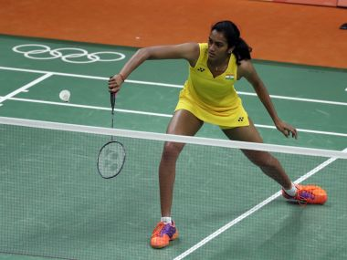 PV Sindhu returns a shot against Hungary's Laura Sarosi. AP