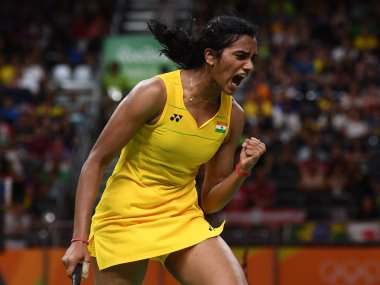 PV Sindhu celebrates winning against Nozomi Okuhara in the semi-final. Getty