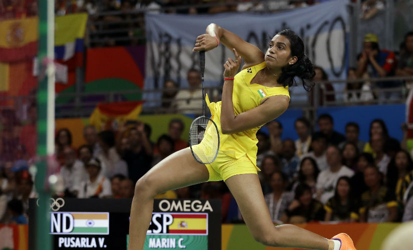 PV Sindhu in action during the final of the Rio Olympics 2016 women's singles badminton event. AP