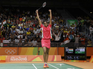 India's PV Sindhu reacts triumphantly after winning a point against Tai Tzu Ying. AP