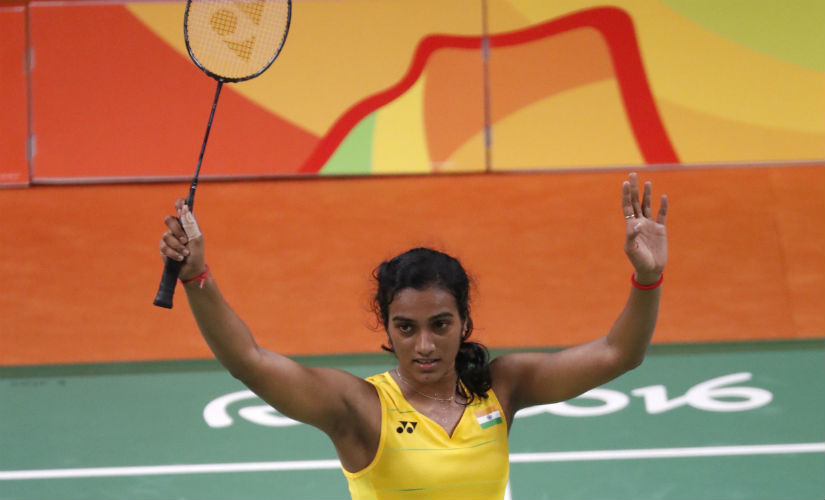 PV Sindhu reacts after beating Nozomi Okuhara to enter the badminton women's singles final in Rio Olympics. AP