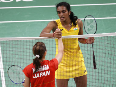 PV Sindhu (right) shakes hands with conquered opponent Nokomi Okuhara after the match. AP