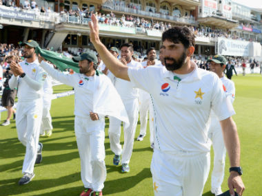 Pakistan captain Misbah-ul-Haq waves to the crowd along with the rest of the team after winning the Oval Test against England. Getty Images