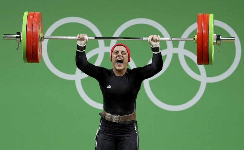 2016 Rio Olympics - Weightlifting - Final - Women 69kg - Riocentro - Pavilion 2 - Rio de Janeiro, Brazil - 10/08/2016. Sara Ahmed (EGY) of Egypt competes. REUTERS/Stoyan Nenov FOR EDITORIAL USE ONLY. NOT FOR SALE FOR MARKETING OR ADVERTISING CAMPAIGNS. - RTSMHBY