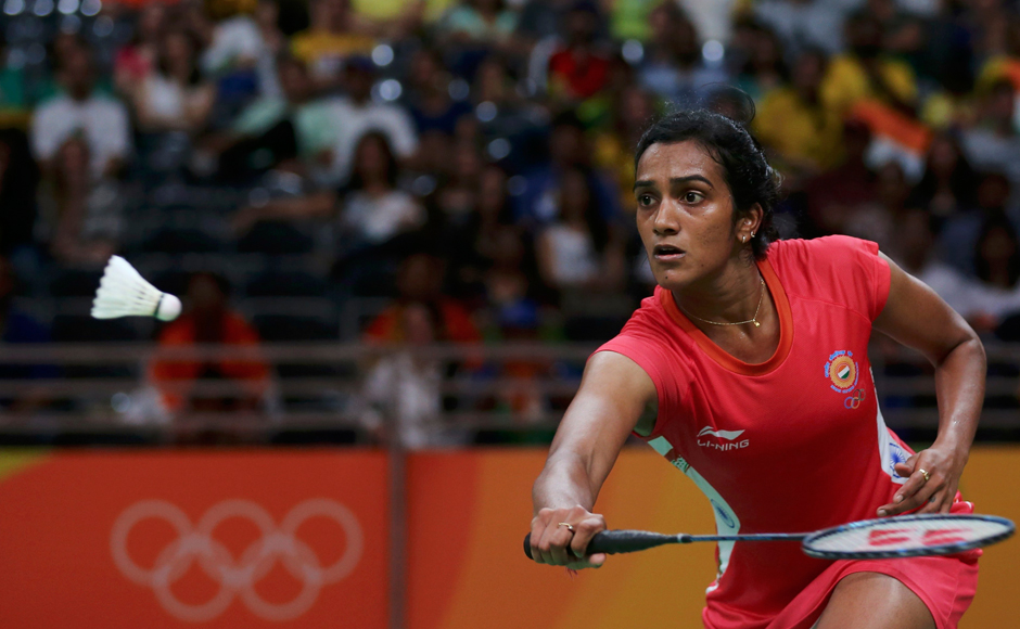 2016 Rio Olympics - Badminton - Women's Singles Group Play - Riocentro - Pavilion 4 - Rio de Janeiro, Brazil - 14/08/2016. P.V. Sindhu (IND) of India plays against Michelle Li (CAN) of Canada. REUTERS