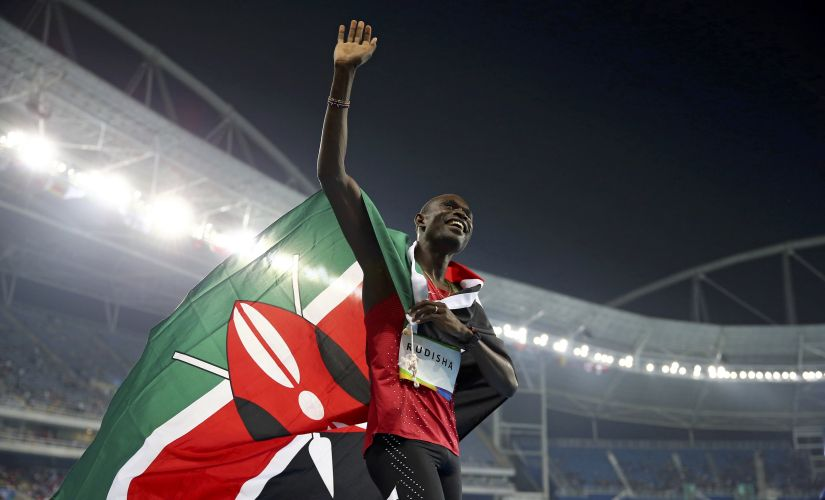 Gold medallist David Lekuta Rudisha celebrates. Reuters