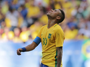 Brazil's Neymar reacts after missing a chance. AP