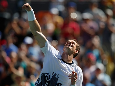 Great Britain's Andy Murray celebrates defeating Japan's Kei Nishikori in the semifinals of the men's singles tennis event.AP