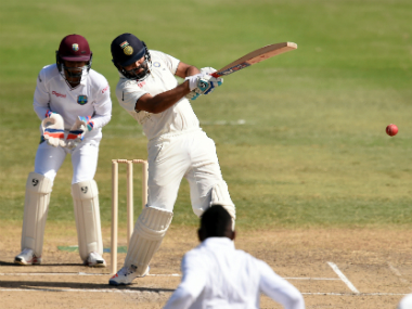 Rohit Sharma scored an unbeaten 54 in the first warm-up match at St Kitts. AFP