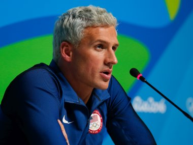 USA swimmer Ryan Lochte attends a press conference. Getty