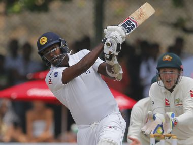 Sri Lankan skipper Angelo Mathews slammed a half century to put thier noses ahead on Day One. AP