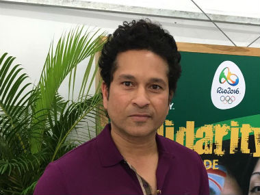 Sachin Tendulkar visited the Rio Olympic village earlier on Saturday. Photo courtesy: World Rugby Sevens via Twitter.