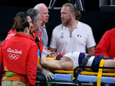 French gymnast Samir Ait Said after his horror landing/ Getty Images