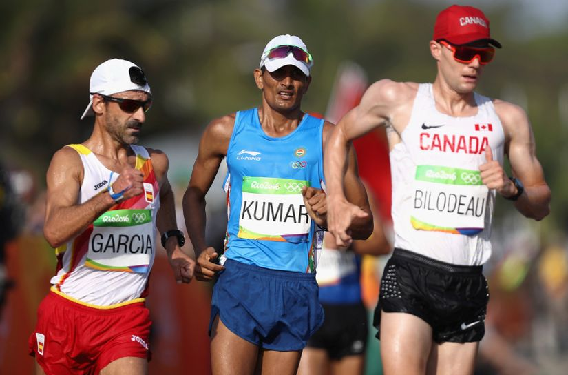 Sandeep Kumar in the Men's 50km Race Walk. AP