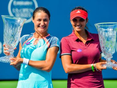 Sania Mirza celebrates her Connecticut Open doubles title victory. Getty