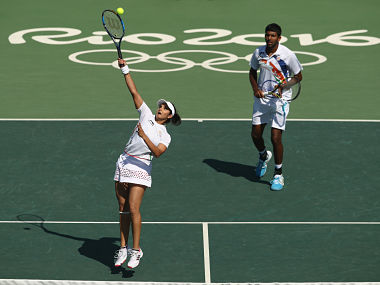 Rohan Bopanna and Sania Mirza in action in the bronze medal match. Getty