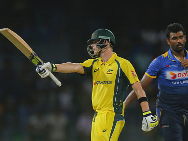 Steve Smith celebrates after reaching his fifty in 1st ODI against Sri Lanka. AP