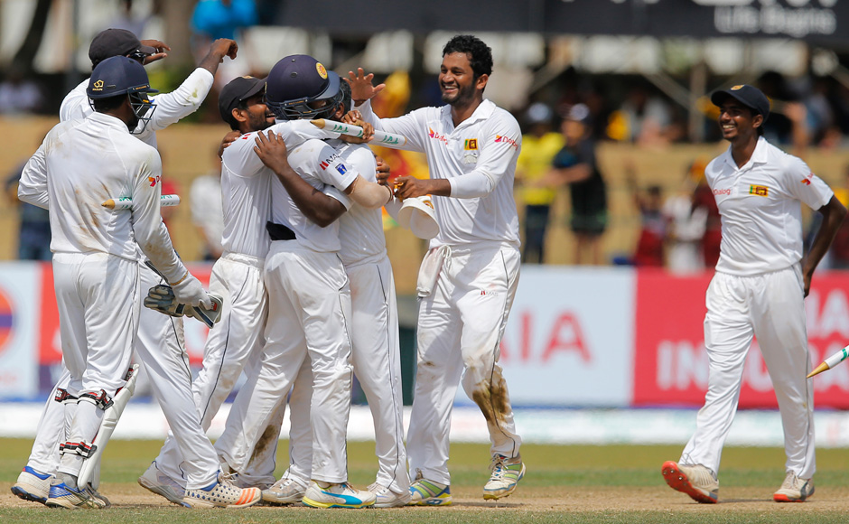 It was the third time in a row that the Australians had lost all of their Tests in away series against teams from the sub-continent. Sri Lankan cricketers celebrate their victory over Australia. (Photo courtesy: AP)
