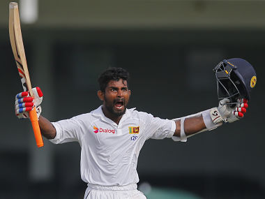 Sri Lanka's Kaushal Silva celebrates his well-deserved ton against Australia. AP