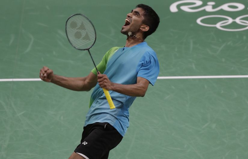 Kidambi Srikanth celebrates after beating Denmark's Jan Jorgensen. AP