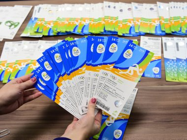 File picture of tickets of the Rio 2016 Olympic Games marked with the name of the Olympic Committee of Ireland. AFP