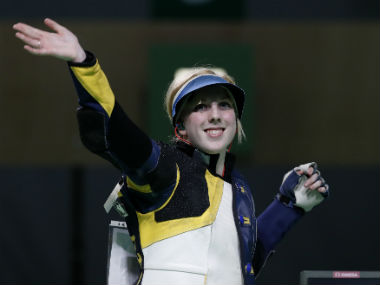 USA's Virginia Thrasher celebrates after winning the Women's 10m Air Rifle event. AP