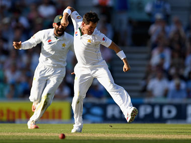 Yasir Shah celebrates with Pakistan captain Misbah-ul-Haq after dismissing Joe Root. Getty