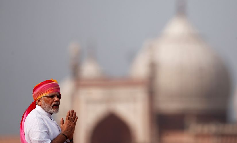 PM Narendra Modi at the Red Fort on Monday. Reuters