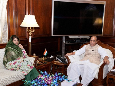 A file image of Union Home Minister Rajnath Singh with Chief Minister of Jammu and Kashmir, Mehbooba Mufti during a meeting on current situation of J&K in New Delhi. PTI