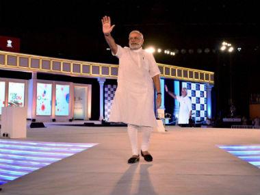 PM Narendra Modi at the townhall. PTI